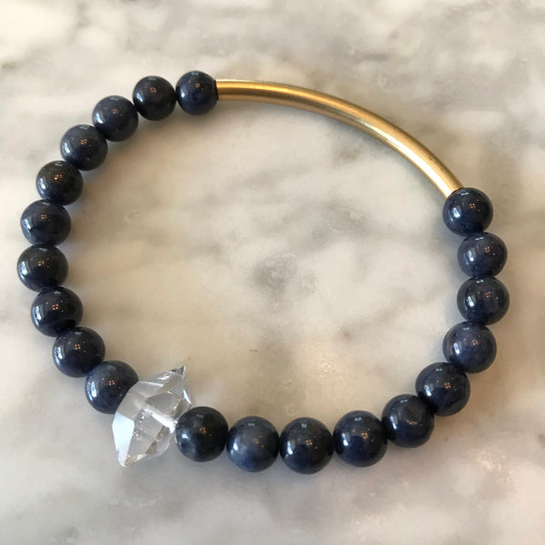 Prosperity - Blue Sapphire and Herkimer Diamond Bracelet