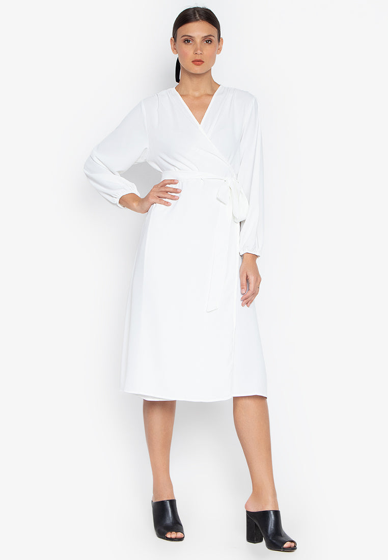 HOPE WRAP BILLOWY SLEEVE DRESS- WHITE - Susto The Label