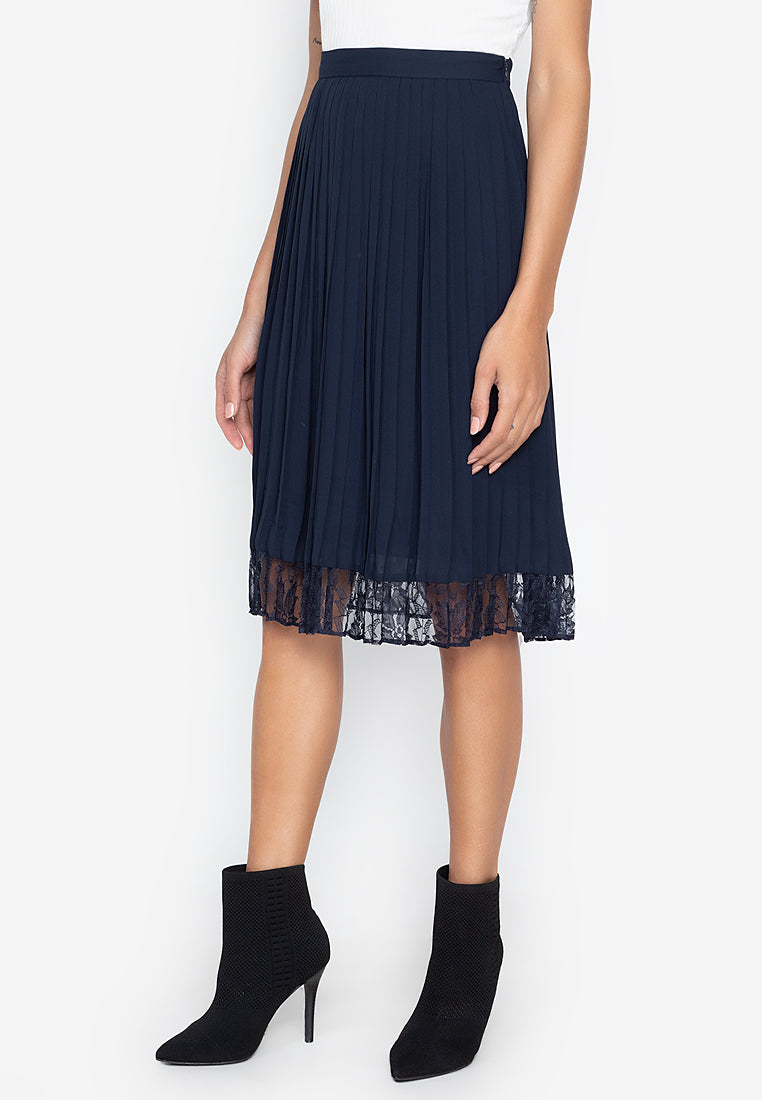 Elin Pleated Lace Midi Skirt