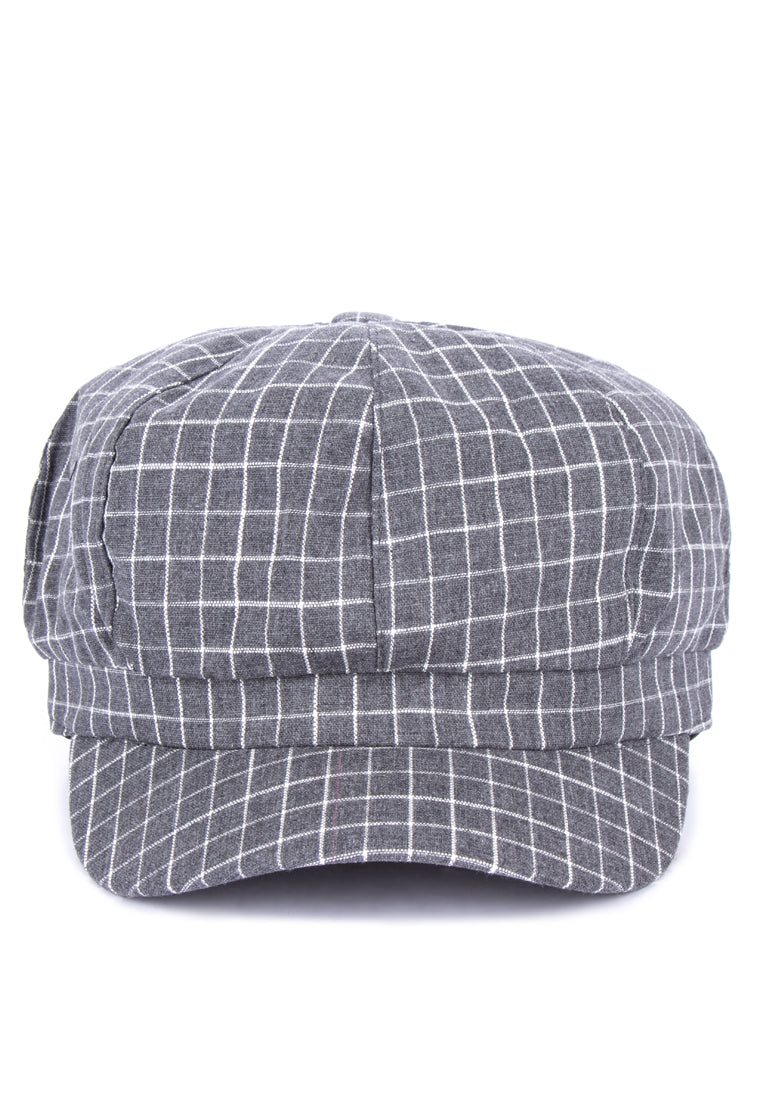 ZOE GRID BAKER BOY HAT- GRAY - Susto The Label