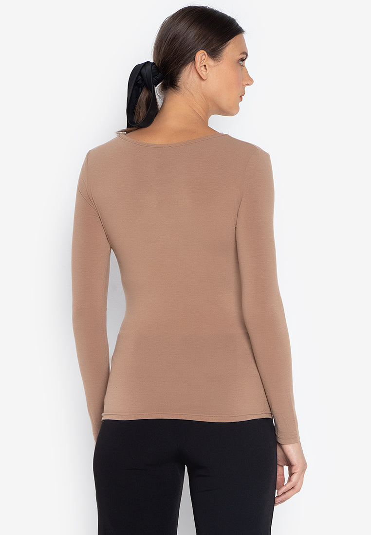 EILEEN KNIT WRAP TOP- BEIGE - Susto The Label