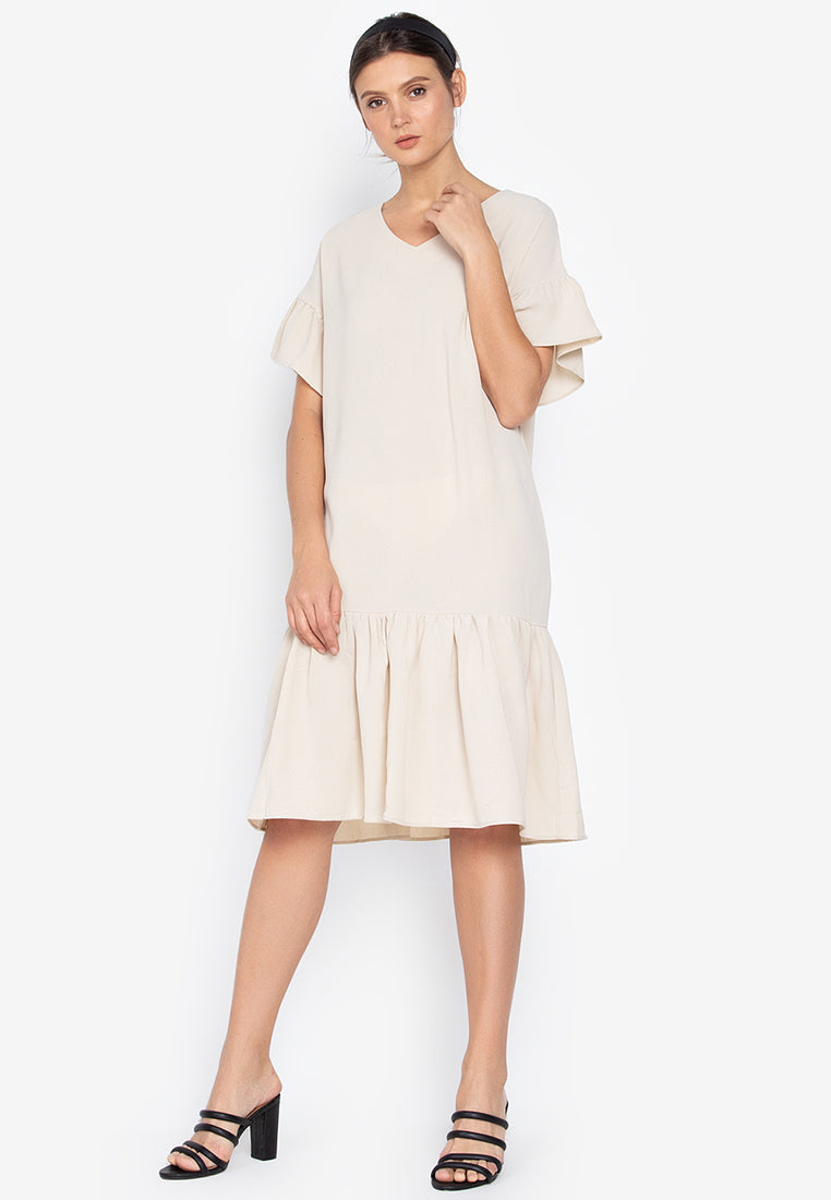 Ellen Fluted Midi Dress