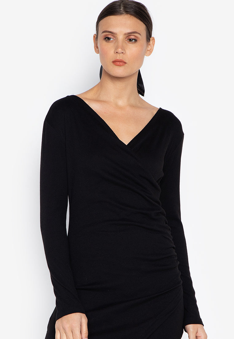 DOROTHY WRAP ASSYMETRICAL DRESS - BLACK - Susto The Label