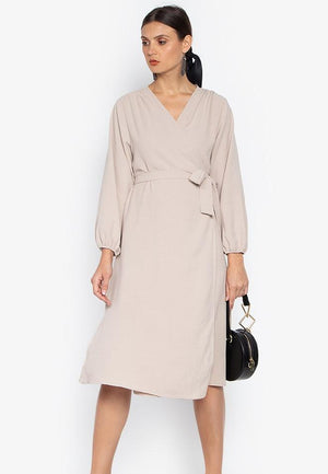 HOPE WRAP BILLOWY SLEEVE DRESS- BEIGE - Susto The Label