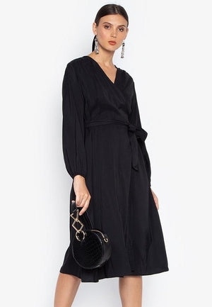 HOPE WRAP BILLOWY SLEEVE DRESS- BLACK - Susto The Label