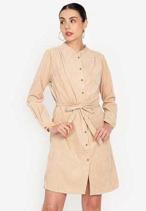 CANERA Round Neck Full Button Dress