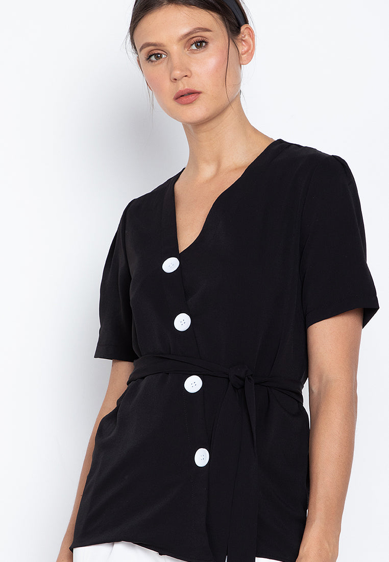 Shan Wrap Button Blouse