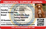 Emotional Support Animal Letter Premium Package Includes both Housing and Travel Letters - USA Service Animal Registration