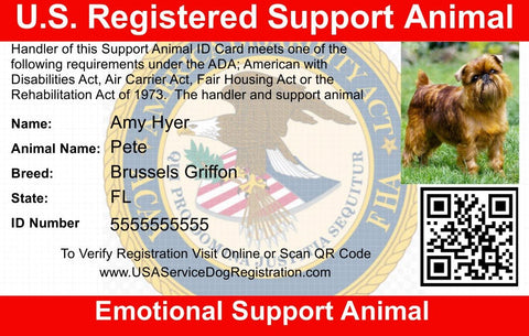 Emotional Support Animal ID Card