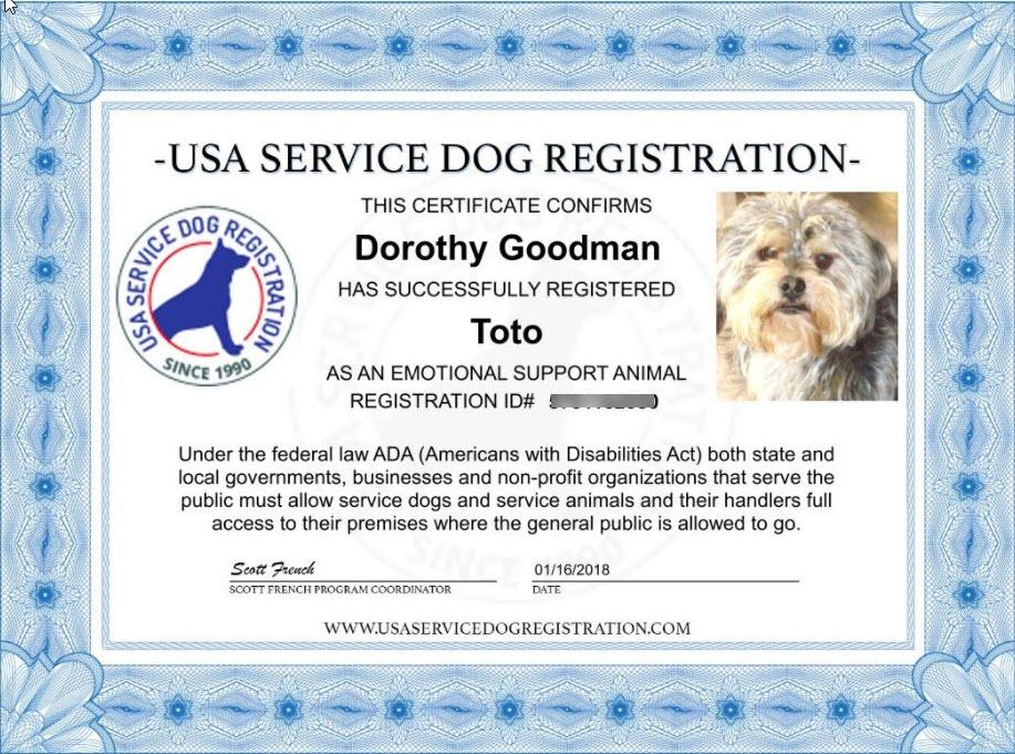 Emotional Support Animal Basic Registration Package – USA ...