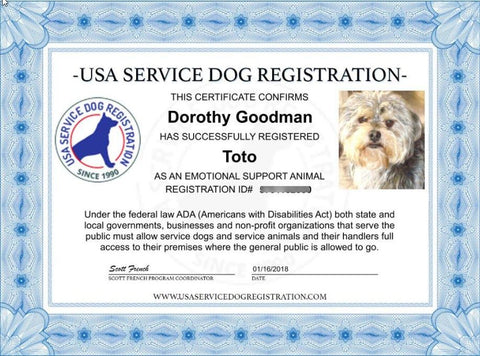 emotional support animal basic registration package – usa service ...