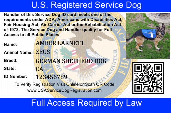 Service Dog ID Card - USA Service Animal Registration