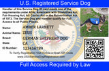 Service Dog Basic Registration Package - USA Service Animal Registration