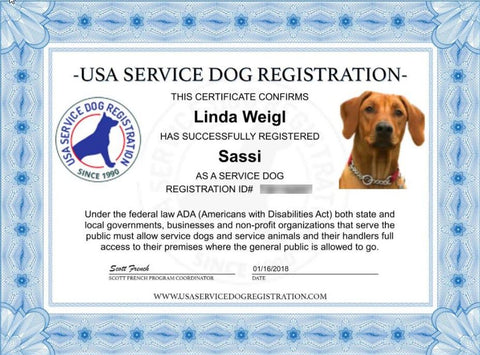 service dog basic registration package – usa service animal registration