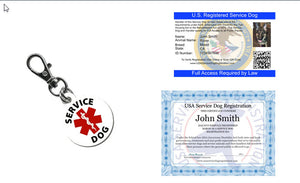 Service Dog ID Card, Digital Certificate & Tag (Bundle & Save $30) - USA Service Animal Registration