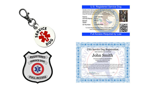 Service Dog Credential Package (Includes ID Card, 2 Service Dog Patches, ID Tag & Digital Certificate Bundle and Save $35)