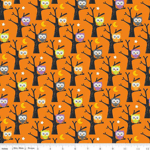 Ghouls and Goodies Owls Orange by Riley Blake Designs - Halloween Trees - Quilting Cotton Fabric