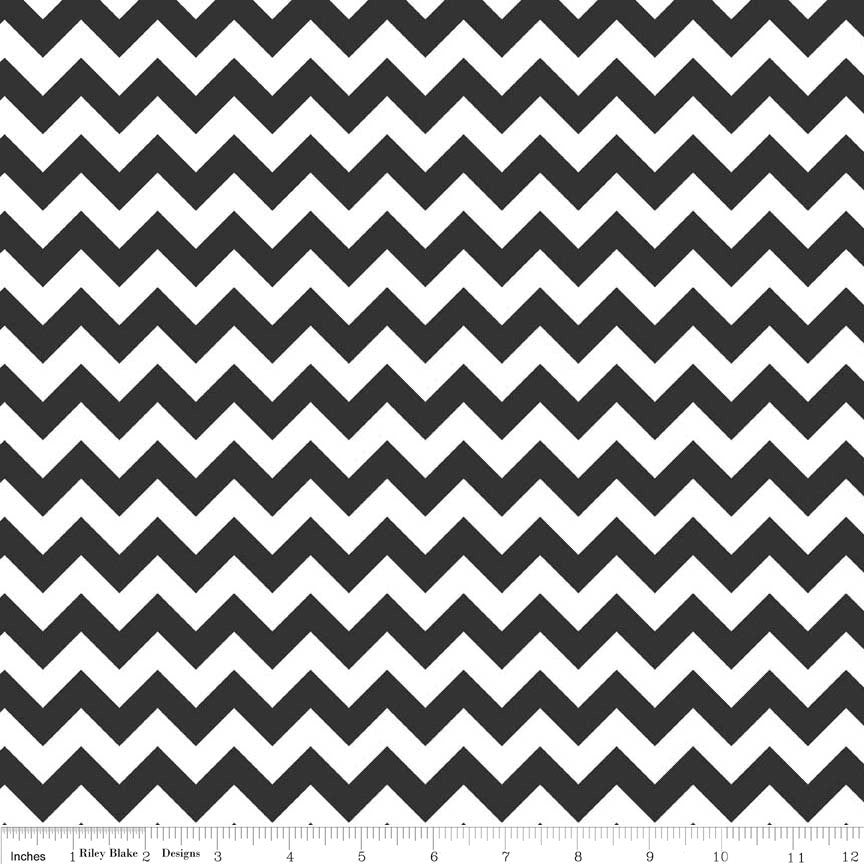 CLEARANCE Small Chevron Black and White by Riley Blake Designs - Jersey KNIT cotton lycra spandex stretch fabric - by the yard