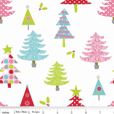 Christmas Basics Tree White by Riley Blake Designs - Holiday - Quilting Cotton Fabric