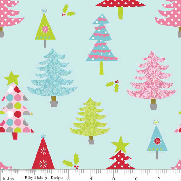 SALE Christmas Basics Tree Blue by Riley Blake Designs - Holiday - Quilting Cotton Fabric - fat quarter