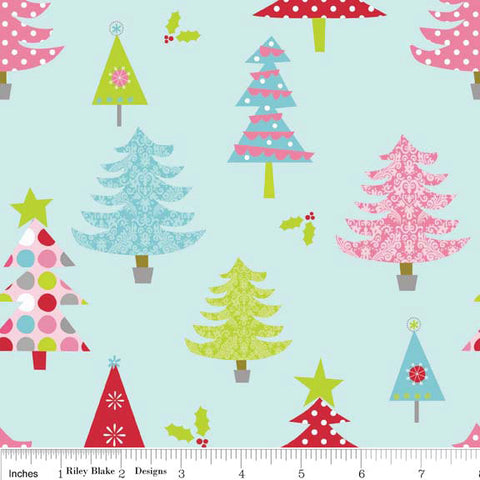 Christmas Basics Tree Blue by Riley Blake Designs - Holiday - Quilting Cotton Fabric
