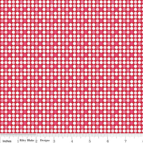 Dot Red Holiday Basic - Riley Blake Designs - pink Christmas Polka Dot - Quilting Cotton Fabric