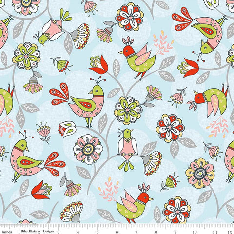 CLEARANCE Dutch Treat Main Blue by Riley Blake Designs - Birds Floral - Quilting Cotton Fabric - by the yard