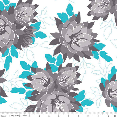 CLEARANCE Desert Bloom Main Blue - Riley Blake Designs - Gray White Flowers Floral - Quilting Cotton Fabric - by the yard