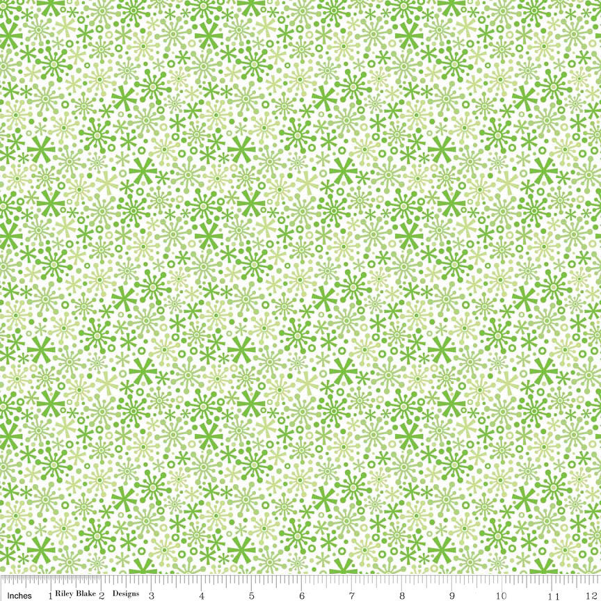 "SALE Christmas Holiday Snow Flakes Green by Riley Blake Designs - Jersey KNIT cotton lycra spandex stretch fabric - 1 Yard 19"" end of bolt"