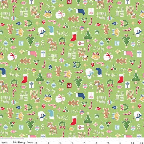 Cozy Christmas Main Green by Riley Blake Designs - Trees- Jersey KNIT cotton lycra spandex stretch fabric - by the yard half quarter