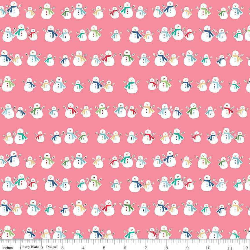 Cozy Christmas Snowmen Pink by Riley Blake Designs - Snowman- Jersey KNIT cotton lycra spandex stretch fabric - choose your cut