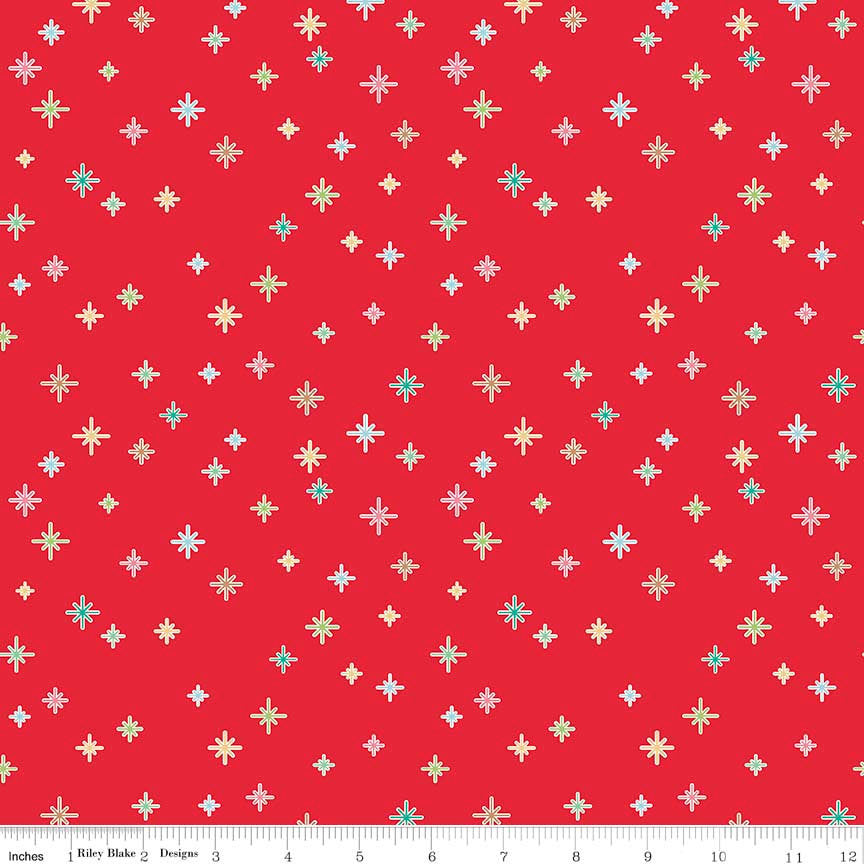 Cozy Christmas Sparkle Red by Riley Blake Designs - Stars - Jersey KNIT cotton lycra spandex stretch fabric - choose your cut