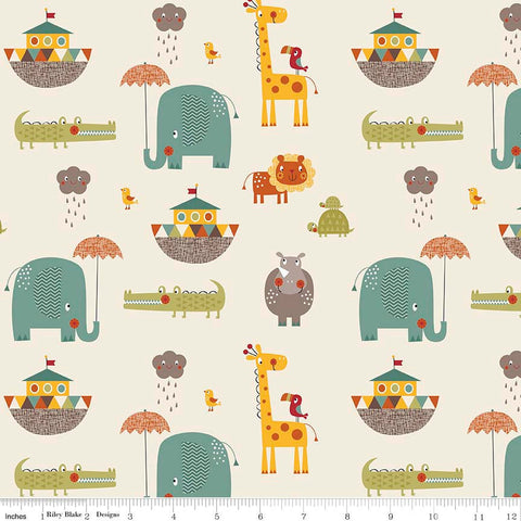 Giraffe Crossing 2 -Main Cream - Riley Blake Designs - Noah's Arc - Jersey KNIT cotton lycra stretch fabric - end of bolt pieces
