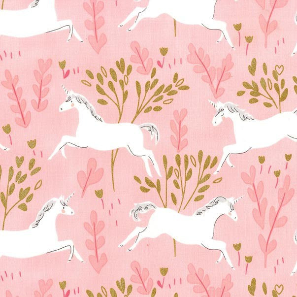 SALE Magic Unicorn Forest Blossom METALLIC - Sarah Jane for Michael Miller - Pink Gold - Quilting Cotton Fabric - choose your cut