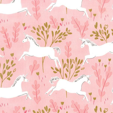 Magic Unicorn Forest Blossom METALLIC - Sarah Jane for Michael Miller - Pink Gold - Quilting Cotton Fabric