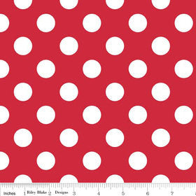 "White Polka Dots on Red Medium 3/4"" inch - Riley Blake Designs  - Quilting Cotton Fabric - choose your cut"