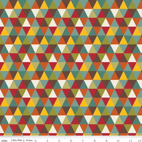 SALE Giraffe Crossing 2 Diamond Multi - Riley Blake Designs - Triangles - Jersey KNIT cotton lycra stretch fabric - choose your cut