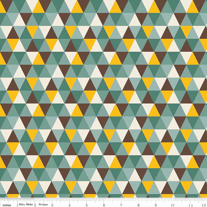 CLEARANCE Giraffe Crossing 2 Diamond Teal by Riley Blake Designs - Triangles Blue - Jersey KNIT cotton stretch fabric - by the yard