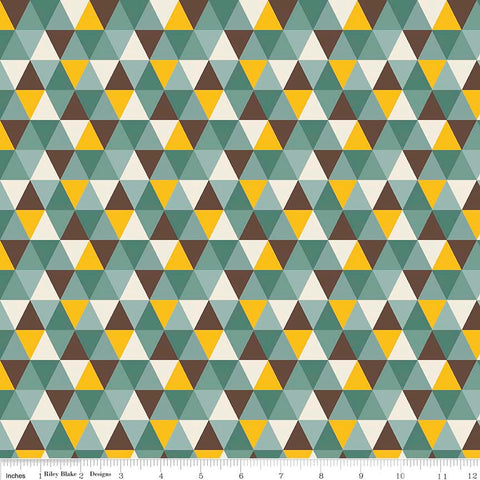 Giraffe Crossing 2 Diamond Teal by Riley Blake Designs - Triangles Blue - Jersey KNIT cotton stretch fabric - choose your cut
