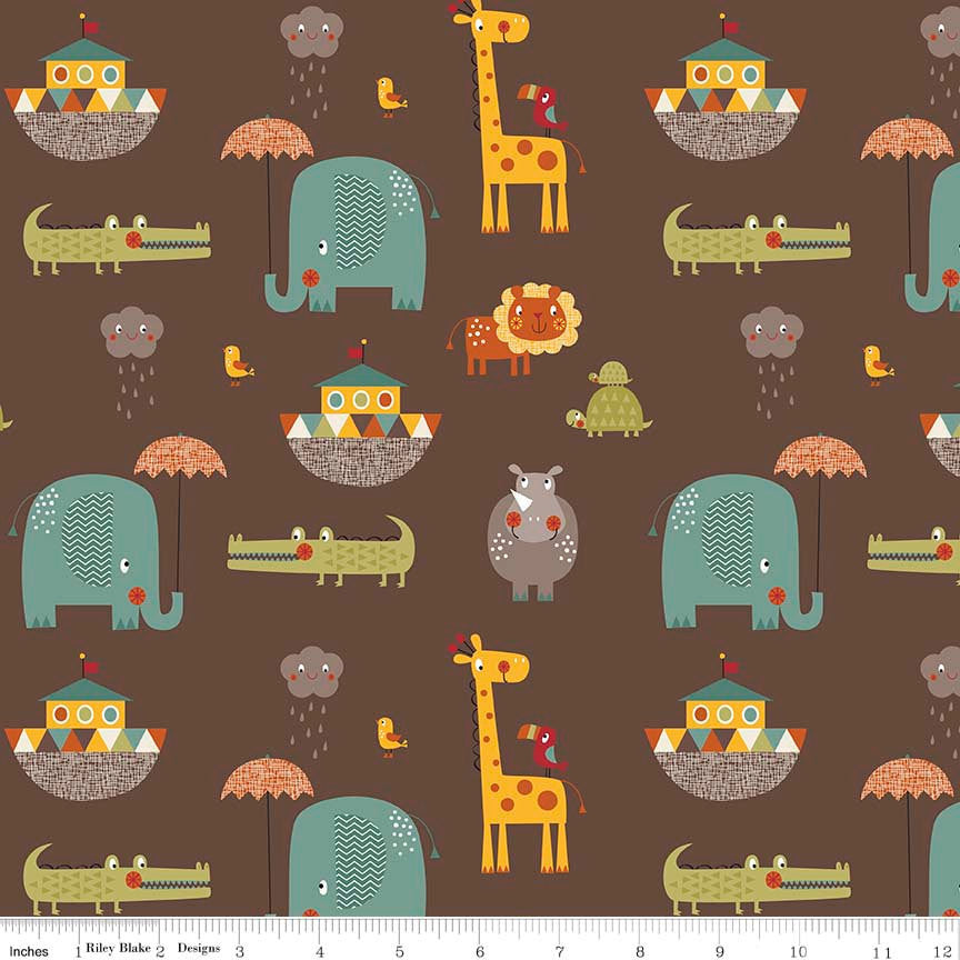 SALE Giraffe Crossing 2 - Main Brown - Riley Blake Designs - Noah's Arc Elephant - Quilting Cotton Fabric - choose your cut