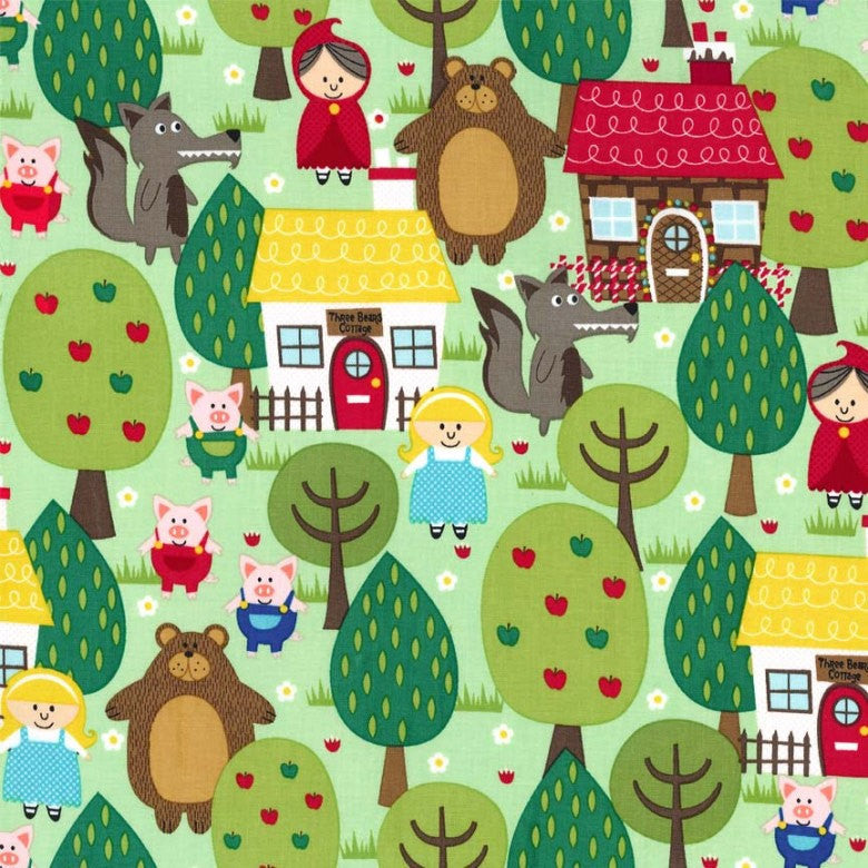 Into the Forest by Michael Miller - Goldilocks Little Red Riding Hood Pigs - Quilting Cotton Fabric - choose your cut