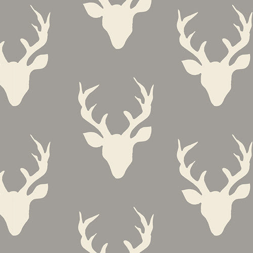 Hello Bear Buck Forest Mist - Art Gallery - Gray Deer Head Antlers - Jersey KNIT cotton lycra fabric