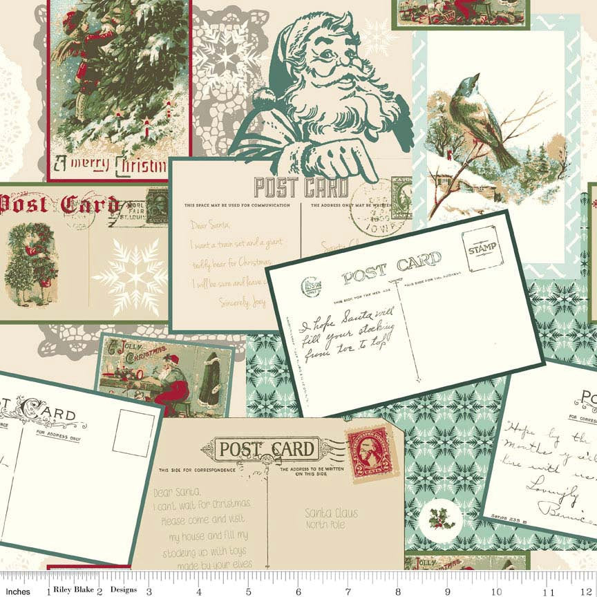 Postcards for Santa Main Green by Riley Blake Designs - Merry Christmas - Quilting Cotton Fabric