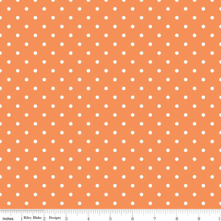 SALE White Swiss Dots on Orange - Riley Blake Designs - Pin Polka Dots - Quilting Cotton Fabric