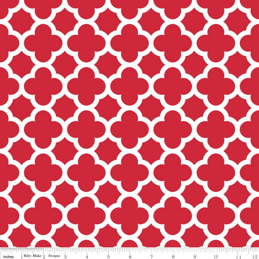 Red and White Quatrefoil Medium by Riley Blake Designs C435-80 - Quilting Cotton Fabric