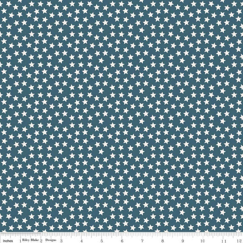 Lucky Star Little Star Navy by Riley Blake Designs - Blue White Patriotic - Quilting Cotton Fabric
