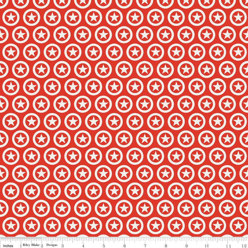SALE Lucky Star Circle Red by Riley Blake Designs - Red Stars White Patriotic - Quilting Cotton Fabric - choose your cut