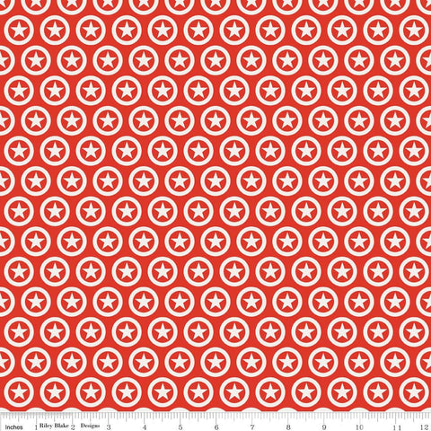 Lucky Star Circle Red by Riley Blake Designs - Red Stars White Patriotic - Quilting Cotton Fabric