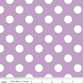 SALE Lavender and White Medium Dots by Riley Blake Designs - Light Purple Polka Dots - Quilting Cotton Fabric - choose your cut