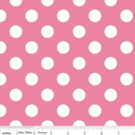 SALE Hot Pink and White Medium Dots by Riley Blake Designs - Polka Dots - Quilting Cotton Fabric - choose your cut